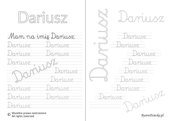 Karty pracy z imionami - nauka pisania imion dla dzieci - Dariusz