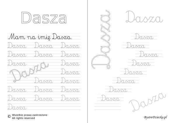 Karty pracy z imionami - nauka pisania imion dla dzieci - Dasza