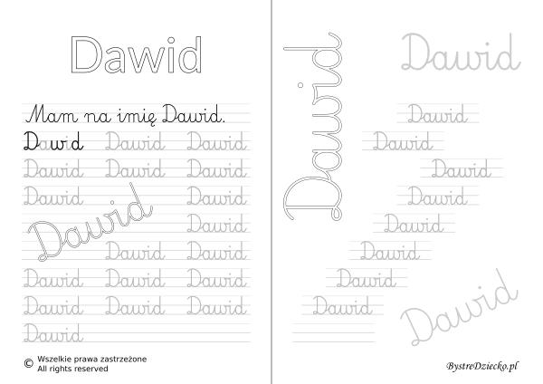 Karty pracy z imionami - nauka pisania imion dla dzieci - Dawid