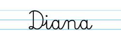 Karty pracy z imionami - nauka pisania imion dla dzieci - Diana