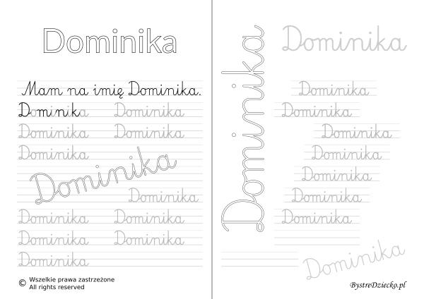 Karty pracy z imionami - nauka pisania imion dla dzieci - Dominika