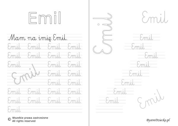 Karty pracy z imionami - nauka pisania imion dla dzieci - Emil