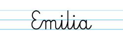 Karty pracy z imionami - nauka pisania imion dla dzieci - Emilia