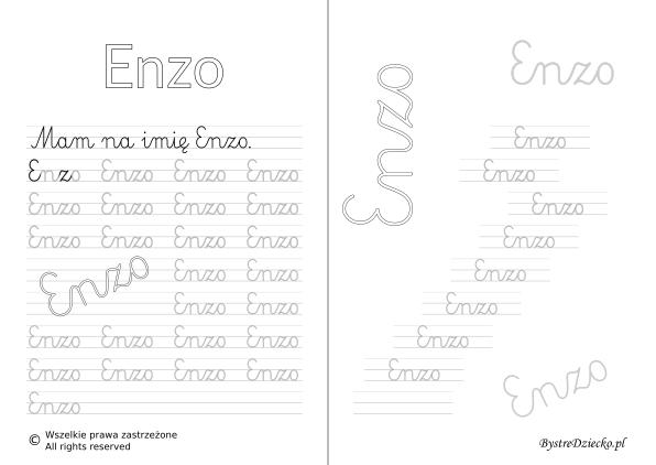 Karty pracy z imionami - nauka pisania imion dla dzieci - Enzo