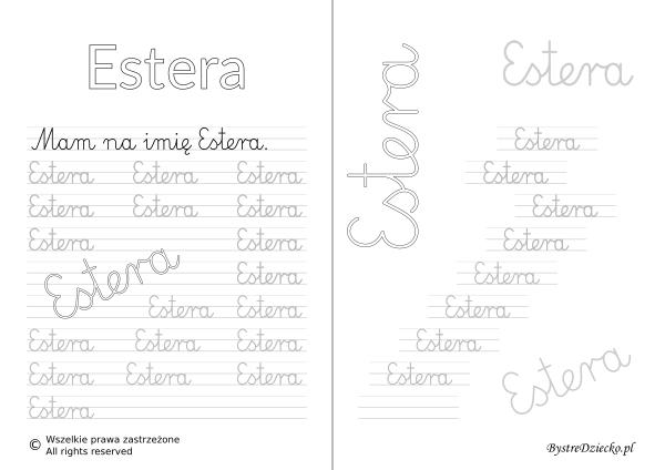 Karty pracy z imionami - nauka pisania imion dla dzieci - Estera