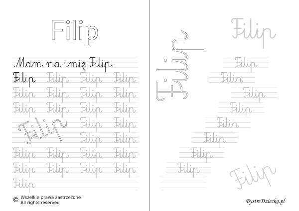 Karty pracy z imionami - nauka pisania imion dla dzieci - Filip
