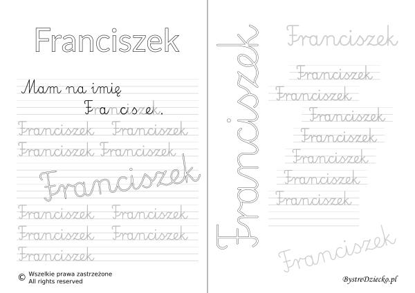 Karty pracy z imionami - nauka pisania imion dla dzieci - Franciszek