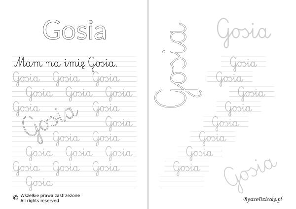 Karty pracy z imionami - nauka pisania imion dla dzieci - Gosia