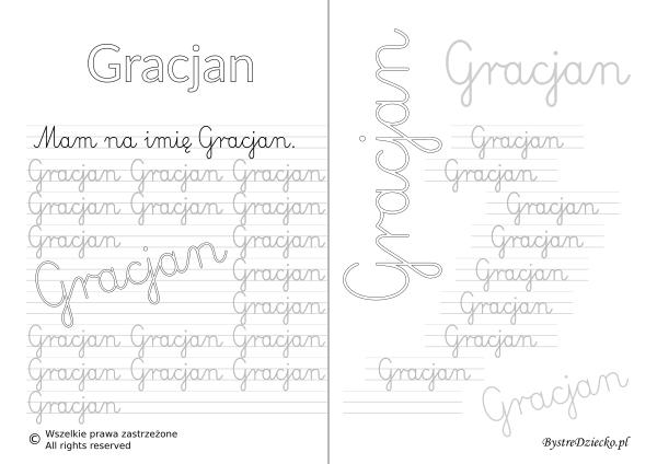 Karty pracy z imionami - nauka pisania imion dla dzieci - Gracjan