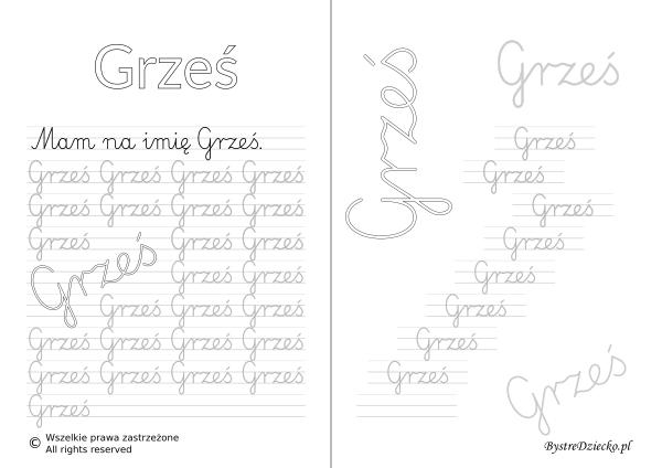 Karty pracy z imionami - nauka pisania imion dla dzieci - Grześ