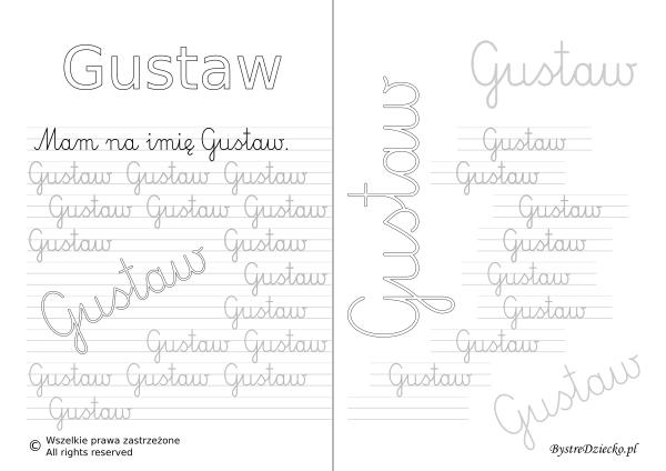 Karty pracy z imionami - nauka pisania imion dla dzieci - Gustaw