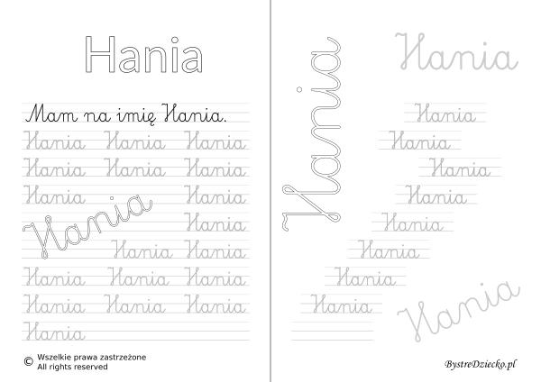 Karty pracy z imionami - nauka pisania imion dla dzieci - Hania
