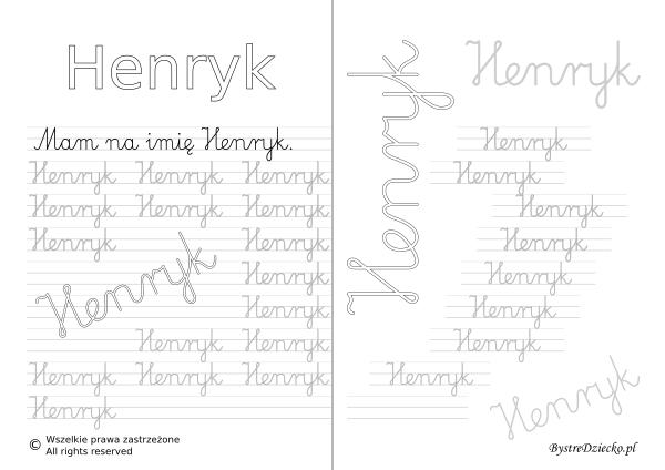 Karty pracy z imionami - nauka pisania imion dla dzieci - Henryk