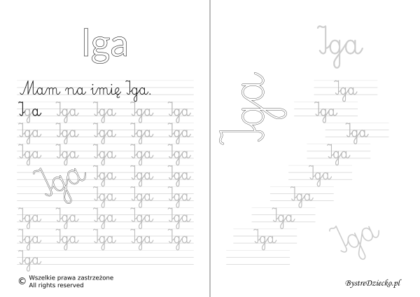 Karty pracy z imionami - nauka pisania imion dla dzieci - Iga