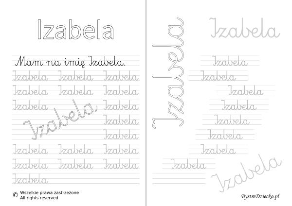 Karty pracy z imionami - nauka pisania imion dla dzieci - Izabela