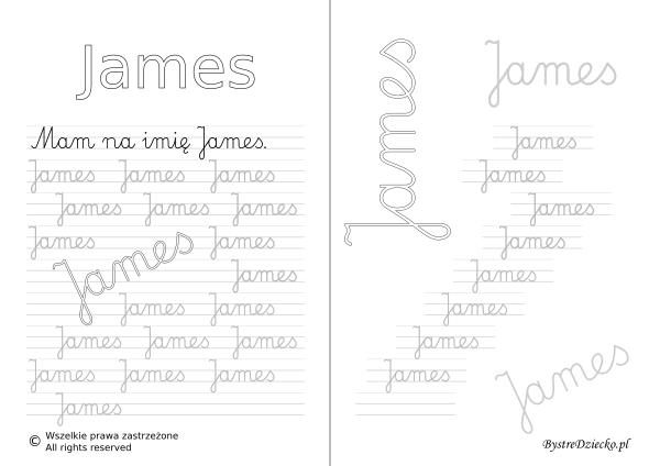 Karty pracy z imionami - nauka pisania imion dla dzieci - James