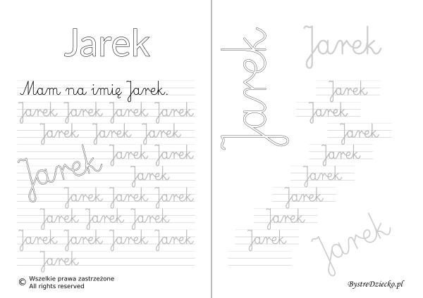 Karty pracy z imionami - nauka pisania imion dla dzieci - Jarek