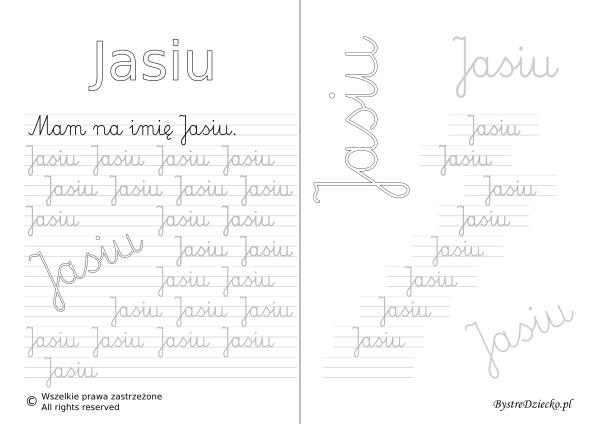 Karty pracy z imionami - nauka pisania imion dla dzieci - Jasiu