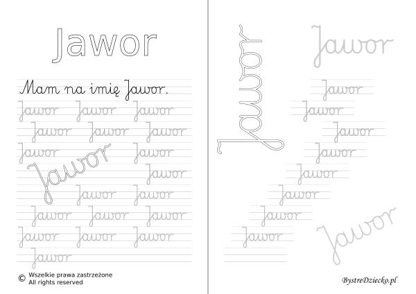 Karty pracy z imionami - nauka pisania imion dla dzieci - Jawor