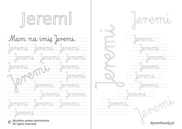 Karty pracy z imionami - nauka pisania imion dla dzieci - Jeremi