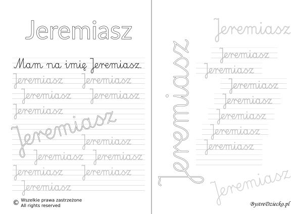 Karty pracy z imionami - nauka pisania imion dla dzieci - Jeremiasz