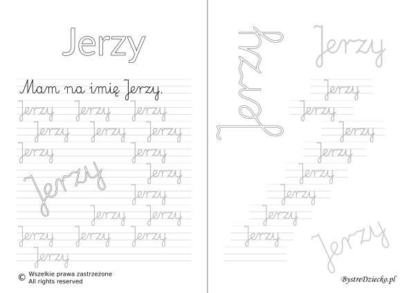 Karty pracy z imionami - nauka pisania imion dla dzieci - Jerzy