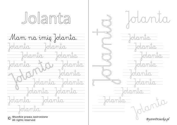 Karty pracy z imionami - nauka pisania imion dla dzieci - Jolanta