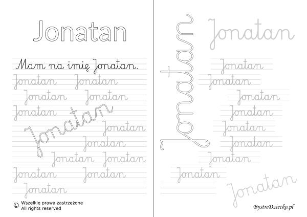 Karty pracy z imionami - nauka pisania imion dla dzieci - Jonatan