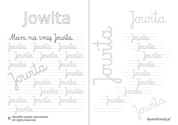Karty pracy z imionami - nauka pisania imion dla dzieci - Jowita