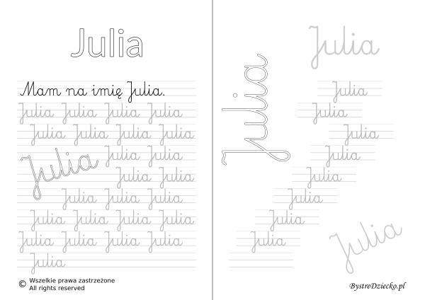 Karty pracy z imionami - nauka pisania imion dla dzieci - Julia