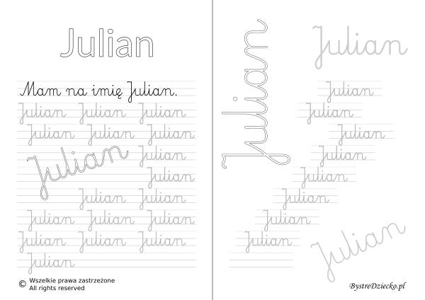 Karty pracy z imionami - nauka pisania imion dla dzieci - Julian