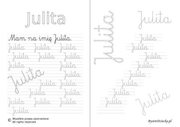 Karty pracy z imionami - nauka pisania imion dla dzieci - Julita