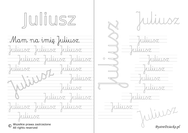 Karty pracy z imionami - nauka pisania imion dla dzieci - Juliusz