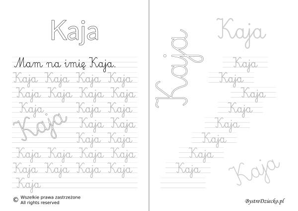 Karty pracy z imionami - nauka pisania imion dla dzieci - Kaja