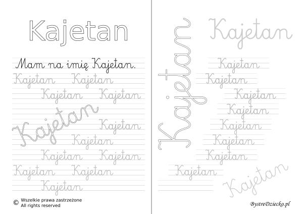 Karty pracy z imionami - nauka pisania imion dla dzieci - Kajetan