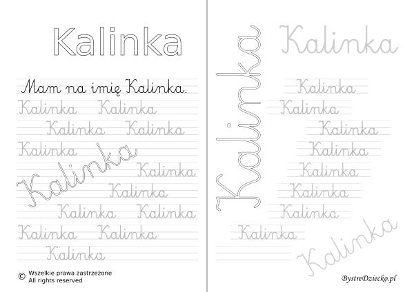 Karty pracy z imionami - nauka pisania imion dla dzieci - Kalinka