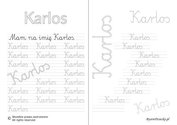 Karty pracy z imionami - nauka pisania imion dla dzieci - Karlos