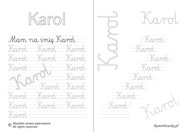 Karty pracy z imionami - nauka pisania imion dla dzieci - Karol