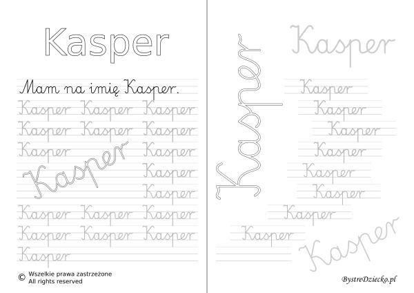 Karty pracy z imionami - nauka pisania imion dla dzieci - Kasper