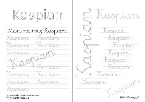 Karty pracy z imionami - nauka pisania imion dla dzieci - Kaspian