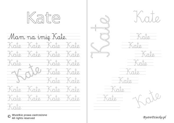 Karty pracy z imionami - nauka pisania imion dla dzieci - Kate