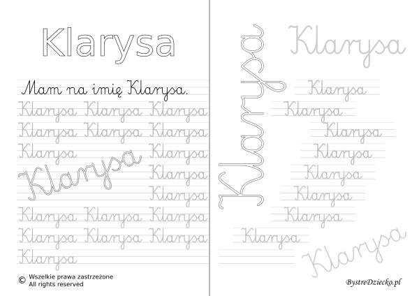 Karty pracy z imionami - nauka pisania imion dla dzieci - Klarysa