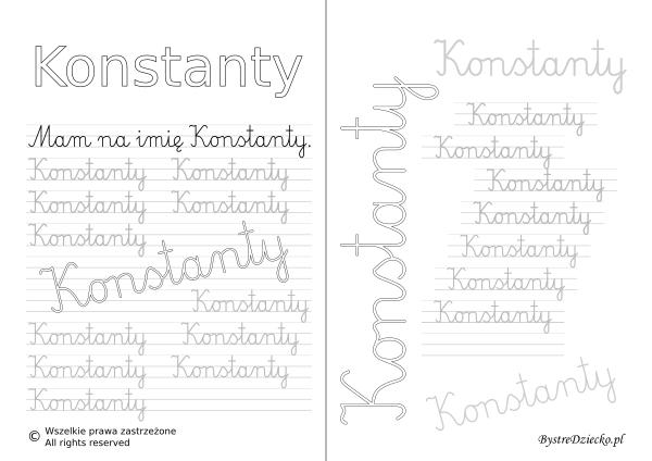 Karty pracy z imionami - nauka pisania imion dla dzieci - Konstanty