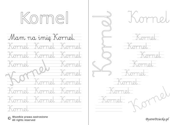 Karty pracy z imionami - nauka pisania imion dla dzieci - Kornel