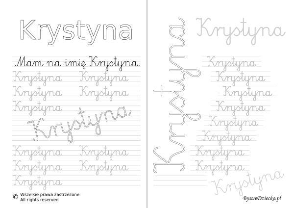 Karty pracy z imionami - nauka pisania imion dla dzieci - Krystyna