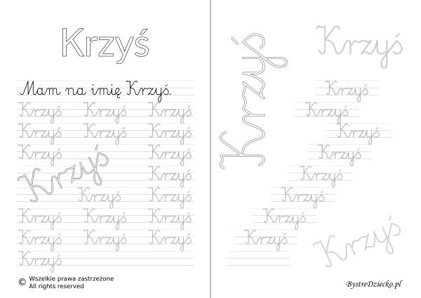 Karty pracy z imionami - nauka pisania imion dla dzieci - Krzyś