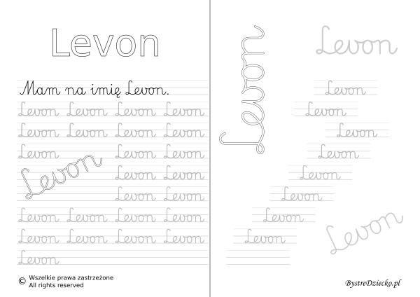 Karty pracy z imionami - nauka pisania imion dla dzieci - Levon