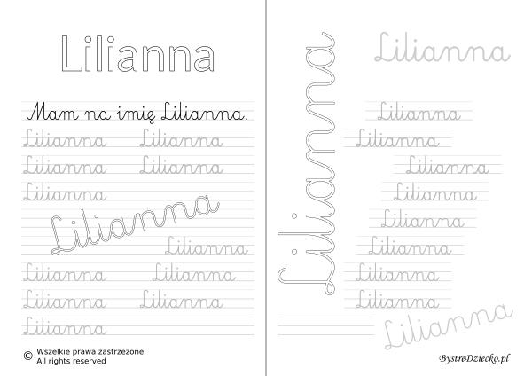 Karty pracy z imionami - nauka pisania imion dla dzieci - Lilianna
