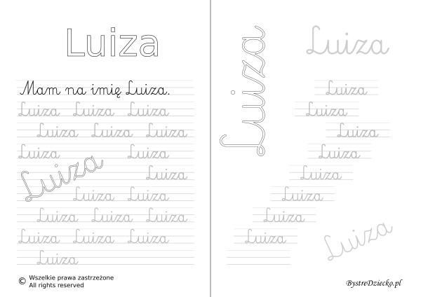 Karty pracy z imionami - nauka pisania imion dla dzieci - Luiza