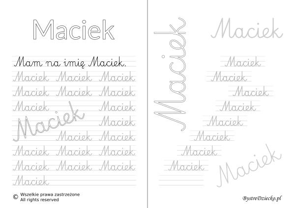 Karty pracy z imionami - nauka pisania imion dla dzieci - Maciek